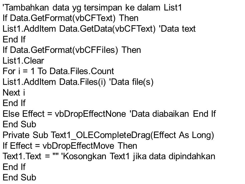 Tambahkan data yg tersimpan ke dalam List1