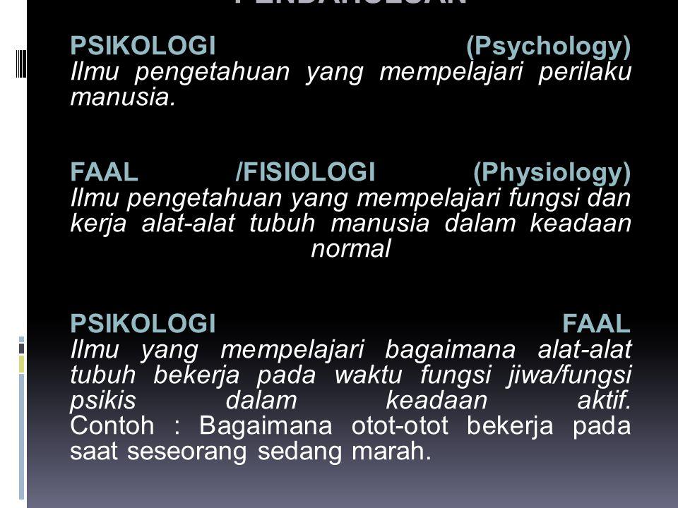 PENDAHULUAN PSIKOLOGI (Psychology) Ilmu pengetahuan yang mempelajari perilaku manusia.