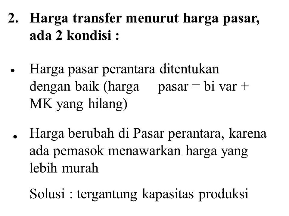 2. Harga transfer menurut harga pasar, ada 2 kondisi : Harga pasar perantara ditentukan dengan baik (harga pasar = bi var + MK yang hilang)