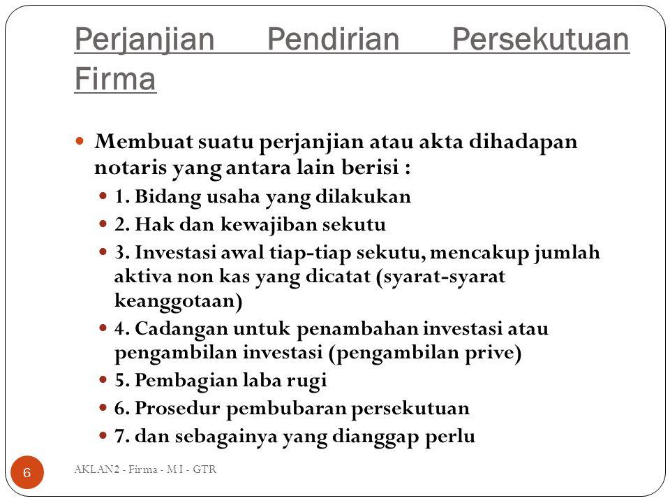 Perjanjian Pendirian Persekutuan Firma