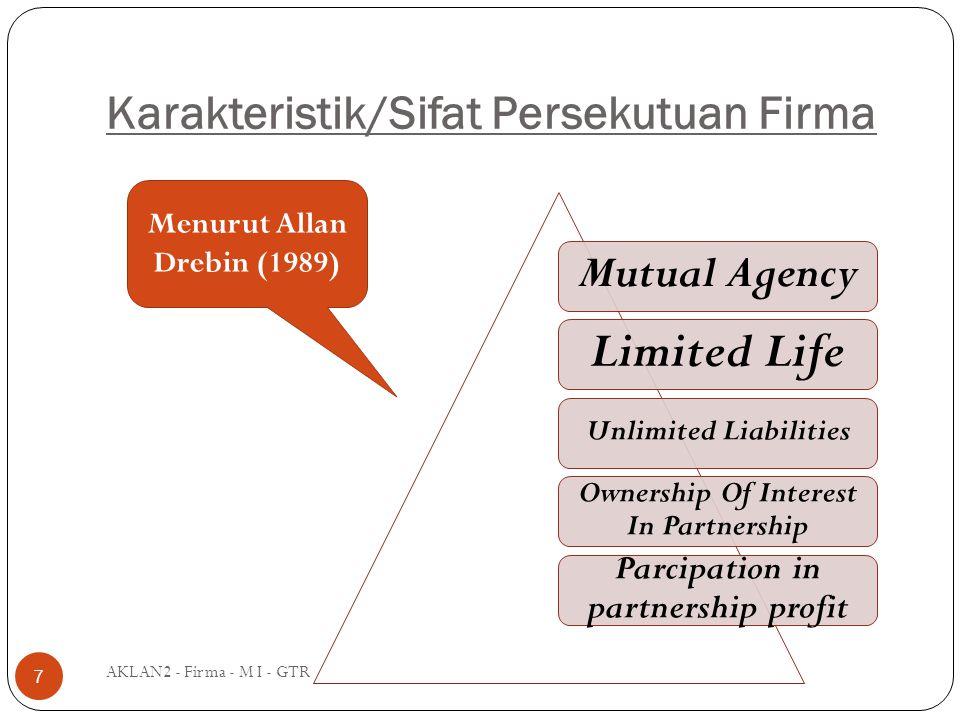 Karakteristik/Sifat Persekutuan Firma