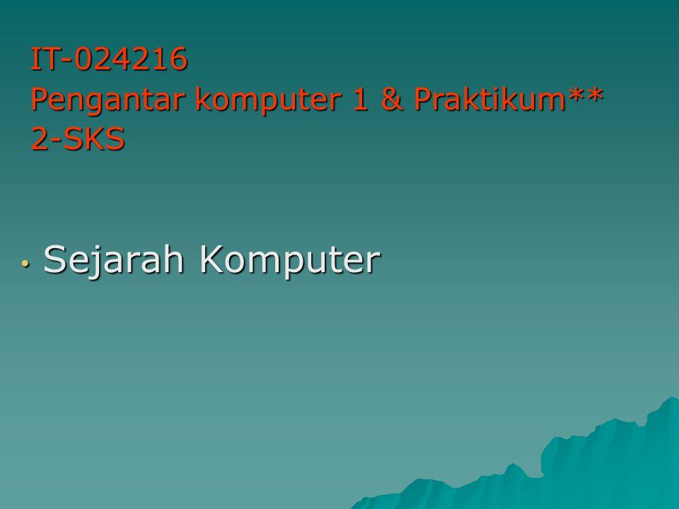 IT-024216 Pengantar komputer 1 & Praktikum** 2-SKS Sejarah Komputer