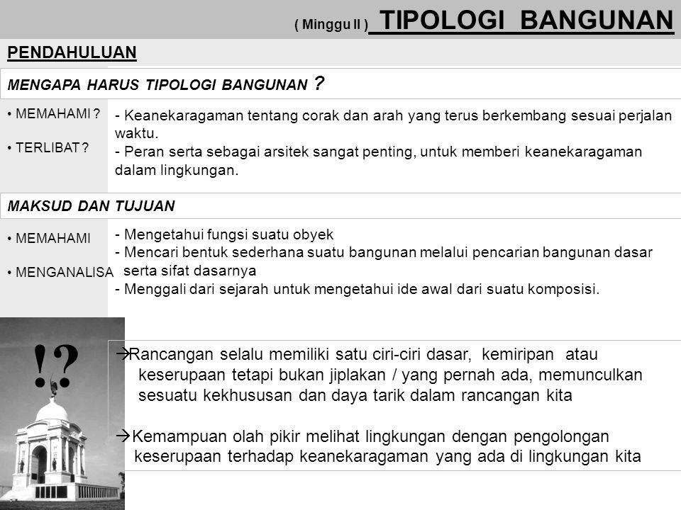 ( Minggu II ) TIPOLOGI BANGUNAN