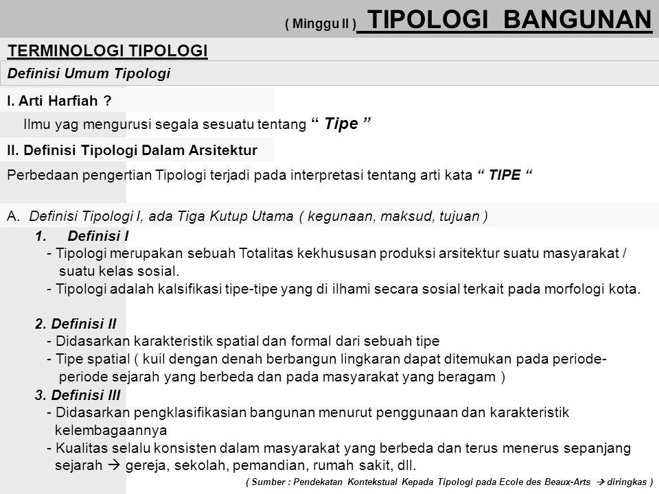 TERMINOLOGI TIPOLOGI Definisi Umum Tipologi I. Arti Harfiah