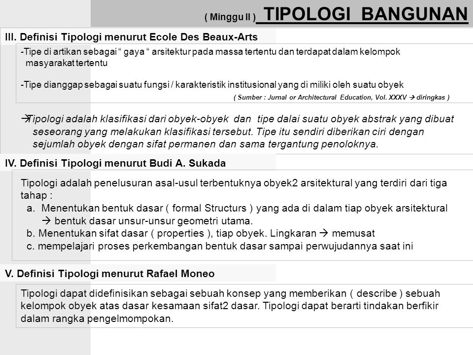 III. Definisi Tipologi menurut Ecole Des Beaux-Arts