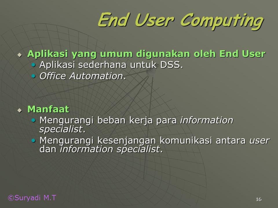 End User Computing Aplikasi yang umum digunakan oleh End User
