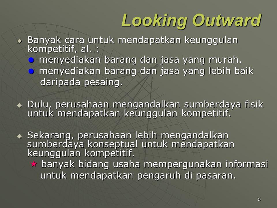 Looking Outward Banyak cara untuk mendapatkan keunggulan kompetitif, al. :  menyediakan barang dan jasa yang murah.