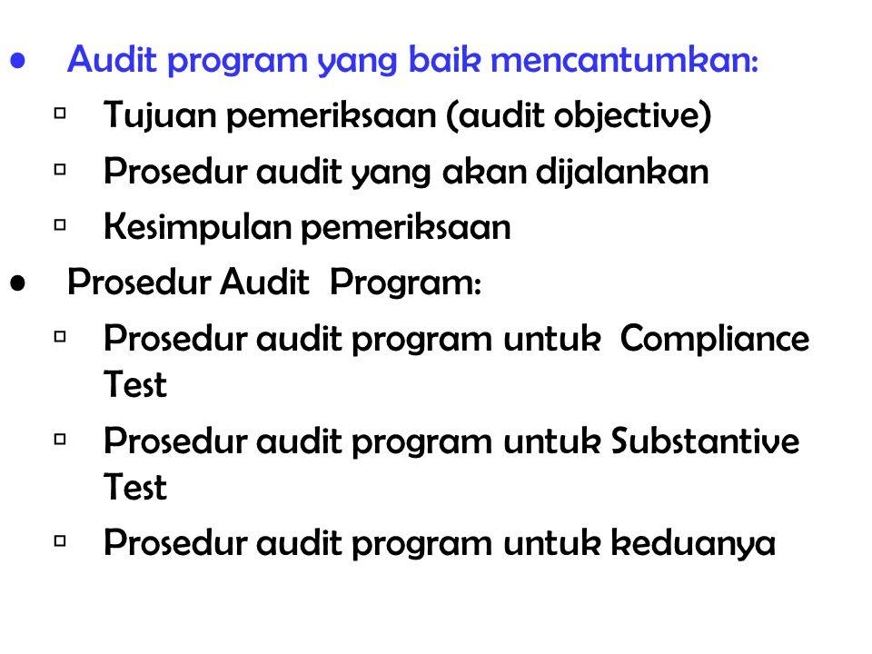 Audit program yang baik mencantumkan: