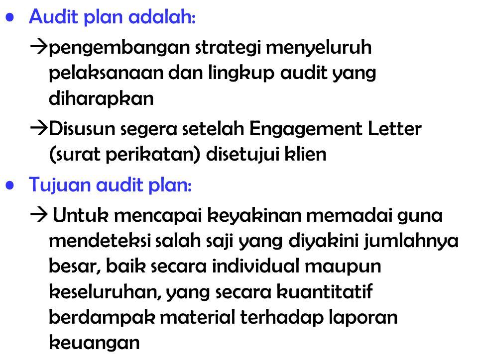 Audit plan adalah: pengembangan strategi menyeluruh pelaksanaan dan lingkup audit yang diharapkan.