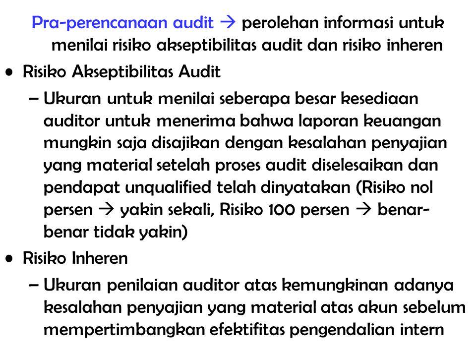 Pra-perencanaan audit  perolehan informasi untuk menilai risiko akseptibilitas audit dan risiko inheren