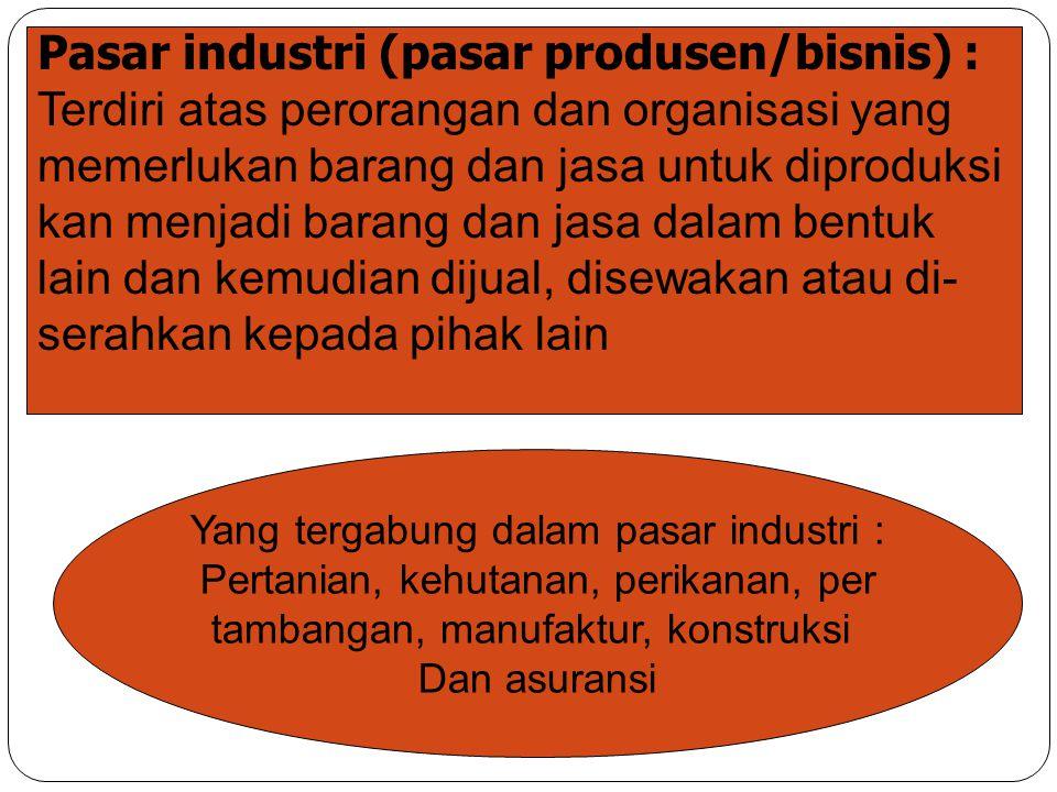Pasar industri (pasar produsen/bisnis) :