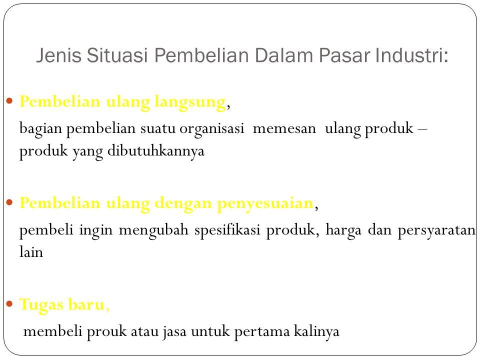 Jenis Situasi Pembelian Dalam Pasar Industri: