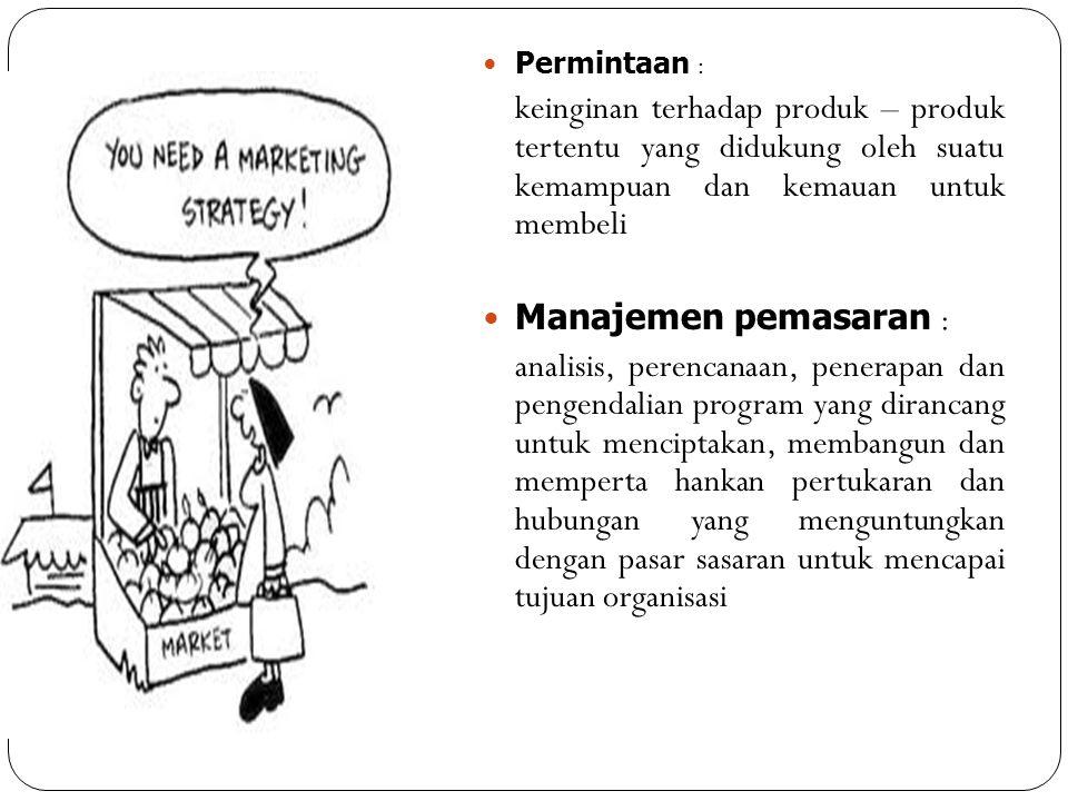 Permintaan : keinginan terhadap produk – produk tertentu yang didukung oleh suatu kemampuan dan kemauan untuk membeli.