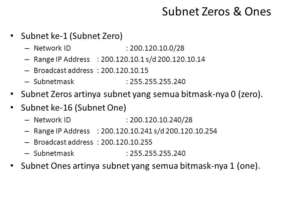 Subnet Zeros & Ones Subnet ke-1 (Subnet Zero)