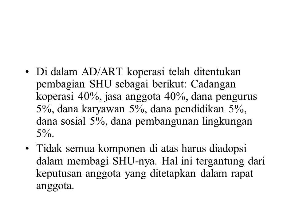 Di dalam AD/ART koperasi telah ditentukan pembagian SHU sebagai berikut: Cadangan koperasi 40%, jasa anggota 40%, dana pengurus 5%, dana karyawan 5%, dana pendidikan 5%, dana sosial 5%, dana pembangunan lingkungan 5%.