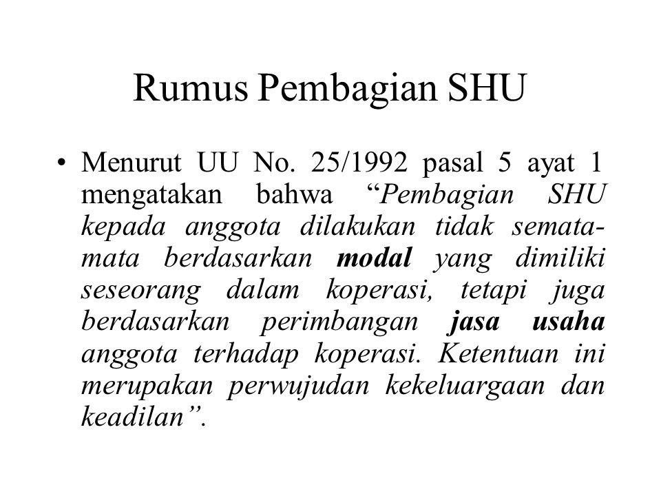 Rumus Pembagian SHU