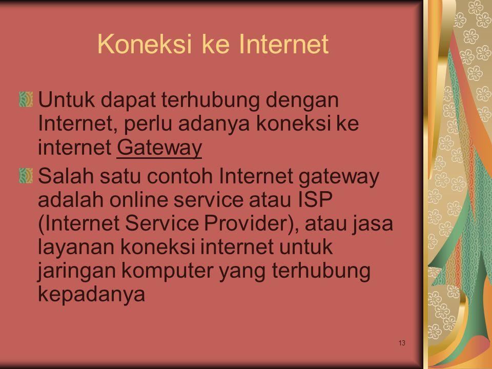 Koneksi ke Internet Untuk dapat terhubung dengan Internet, perlu adanya koneksi ke internet Gateway.