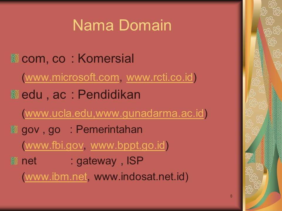 Nama Domain com, co : Komersial (www.microsoft.com, www.rcti.co.id)