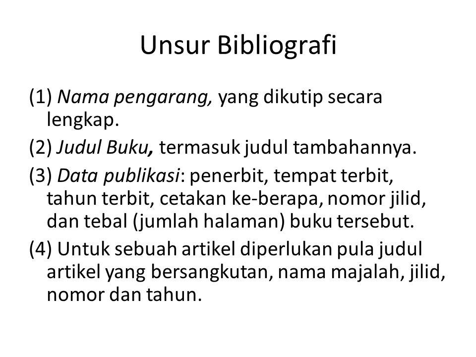 Unsur Bibliografi (1) Nama pengarang, yang dikutip secara lengkap.