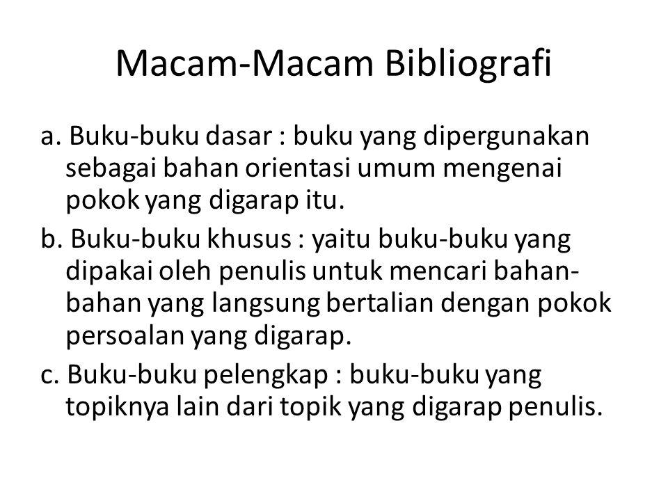 Macam-Macam Bibliografi