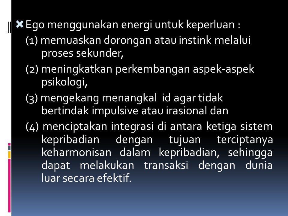 Ego menggunakan energi untuk keperluan :