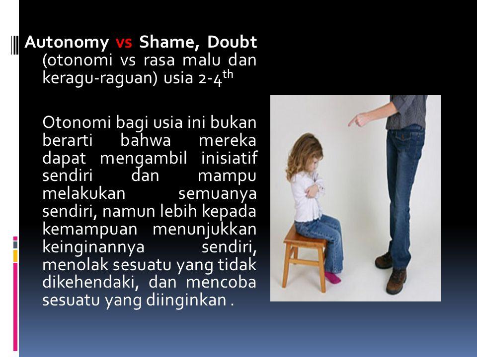 Autonomy vs Shame, Doubt (otonomi vs rasa malu dan keragu-raguan) usia 2-4th