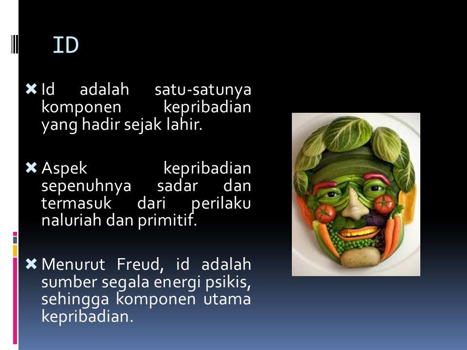 ID Id adalah satu-satunya komponen kepribadian yang hadir sejak lahir.