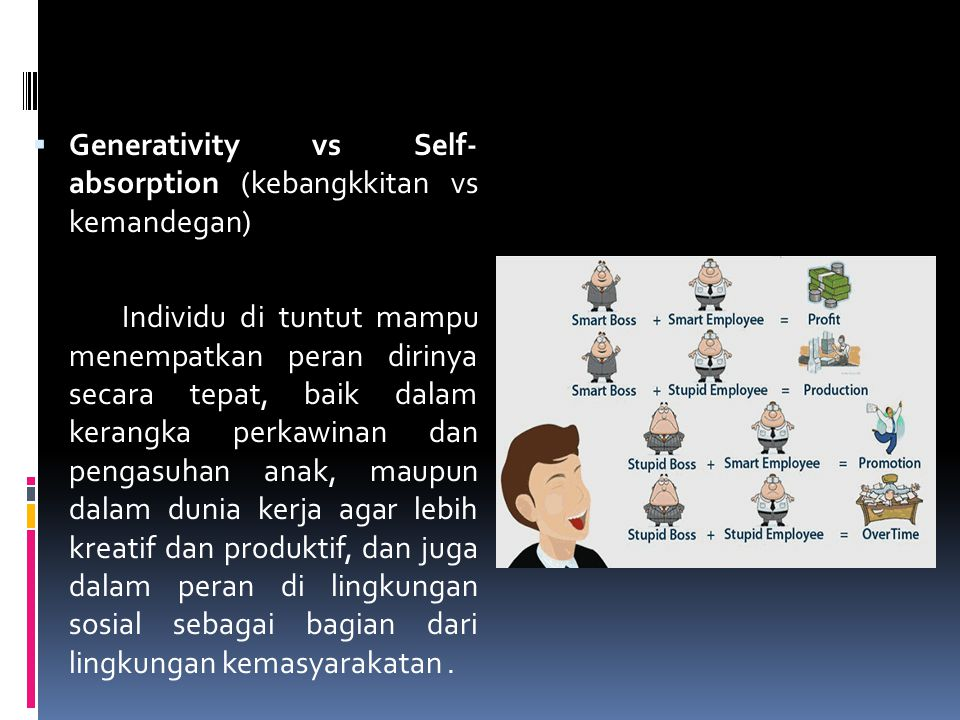 Generativity vs Self- absorption (kebangkkitan vs kemandegan)