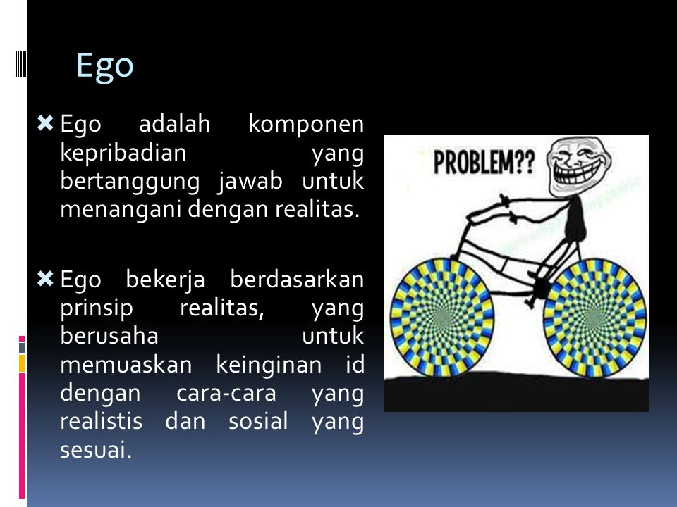 Ego Ego adalah komponen kepribadian yang bertanggung jawab untuk menangani dengan realitas.