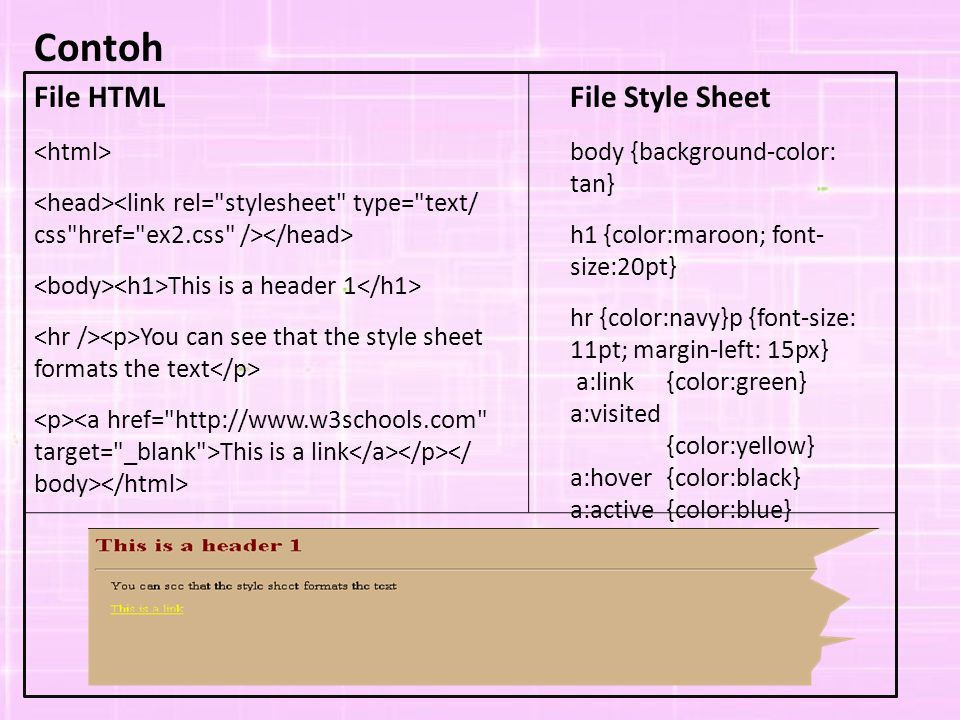 Contoh File HTML File Style Sheet <html>