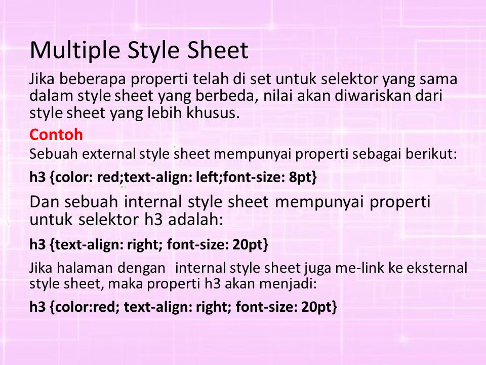 Multiple Style Sheet