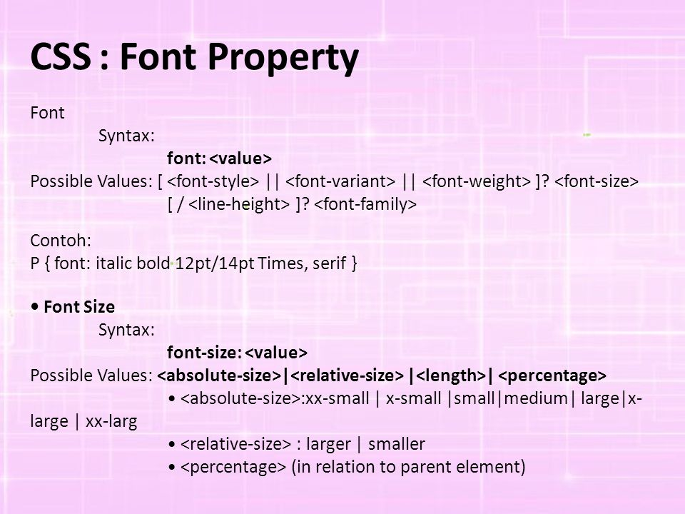 CSS : Font Property Font Syntax: font: <value>