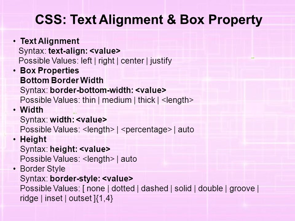 CSS: Text Alignment & Box Property