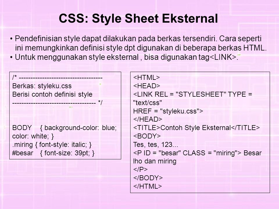 CSS: Style Sheet Eksternal