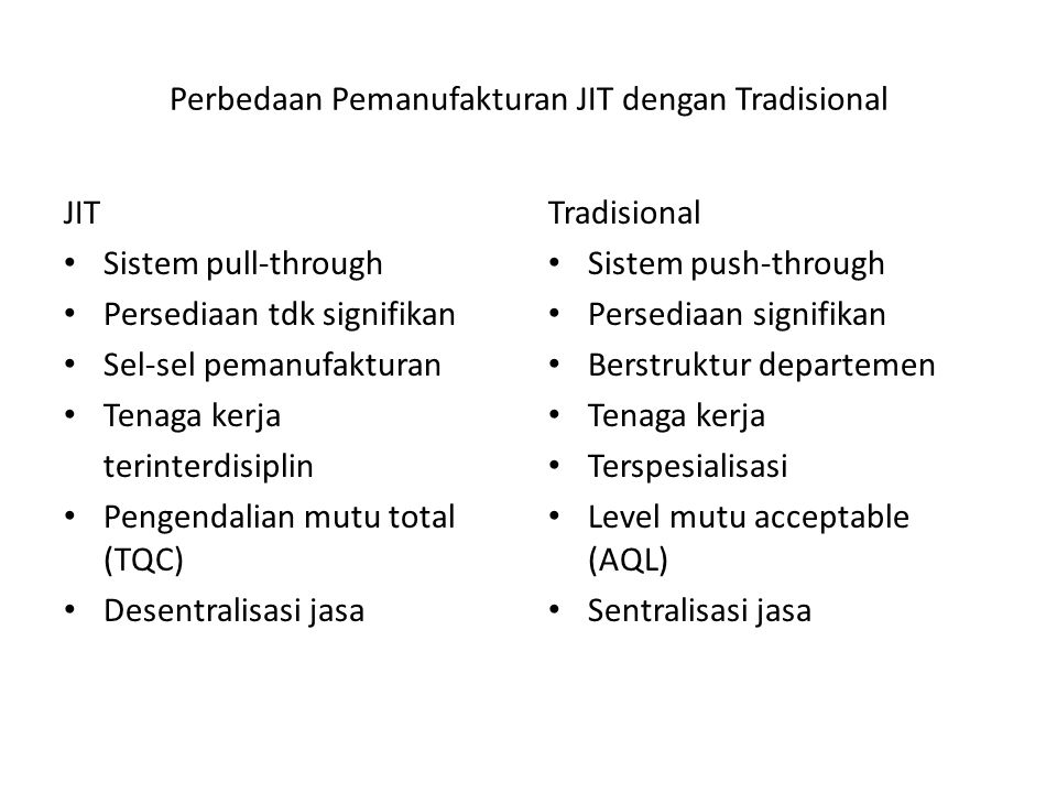 Perbedaan Pemanufakturan JIT dengan Tradisional