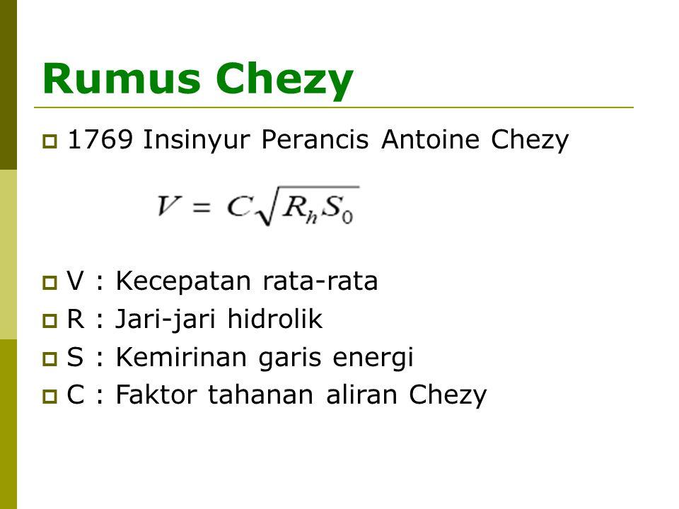 Rumus Chezy 1769 Insinyur Perancis Antoine Chezy
