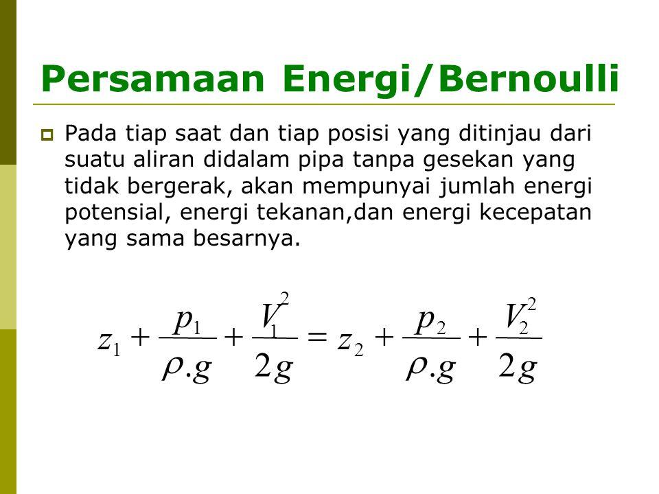 Persamaan Energi/Bernoulli