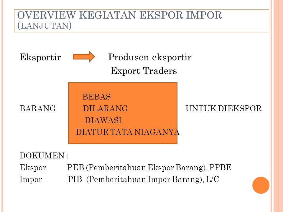 OVERVIEW KEGIATAN EKSPOR IMPOR (lanjutan)