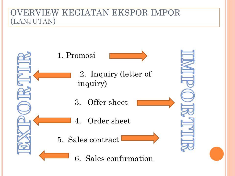 IMPORTIR EXPORTIR OVERVIEW KEGIATAN EKSPOR IMPOR (lanjutan) Promosi