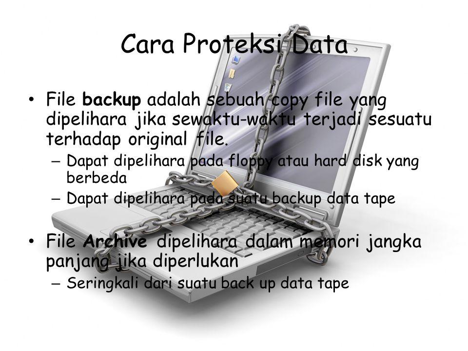 Cara Proteksi Data File backup adalah sebuah copy file yang dipelihara jika sewaktu-waktu terjadi sesuatu terhadap original file.
