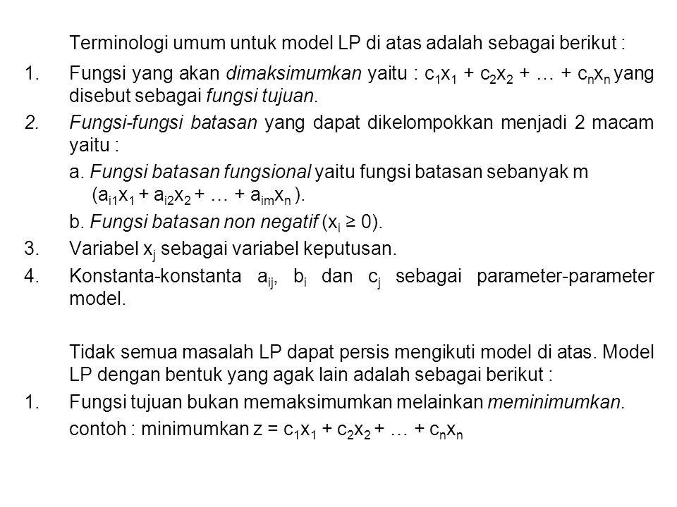 Terminologi umum untuk model LP di atas adalah sebagai berikut :