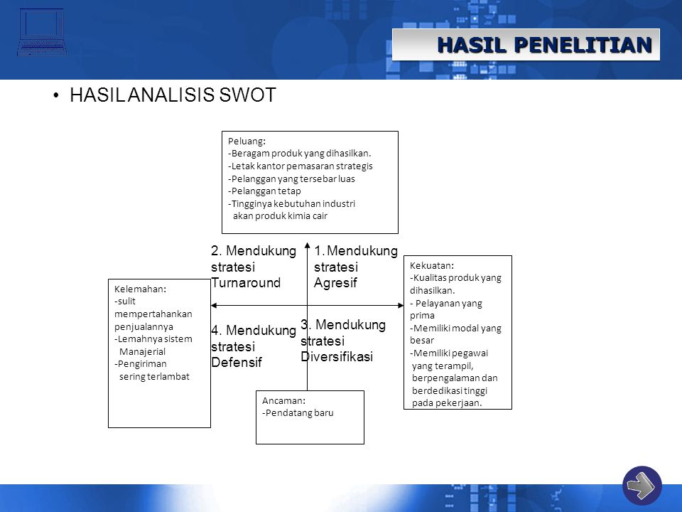HASIL PENELITIAN HASIL ANALISIS SWOT 2. Mendukung stratesi Turnaround