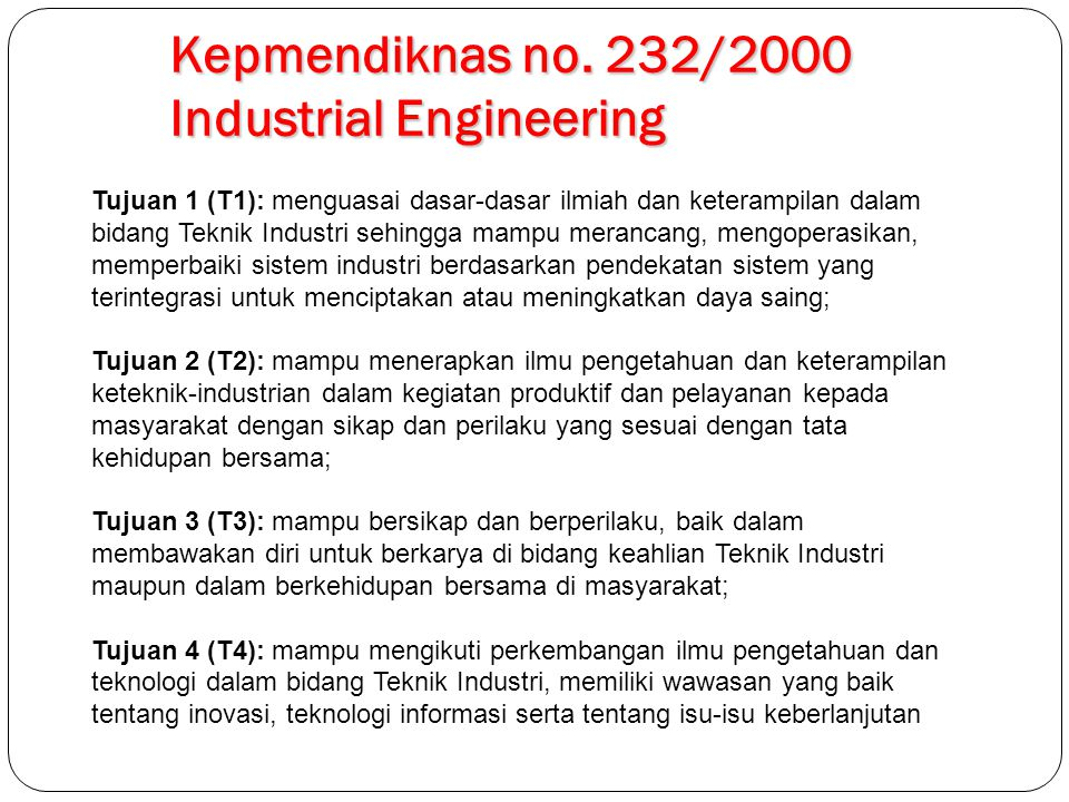 Kepmendiknas no. 232/2000 Industrial Engineering