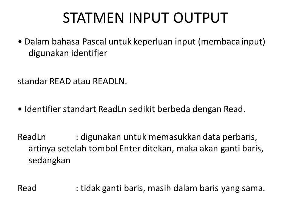 STATMEN INPUT OUTPUT