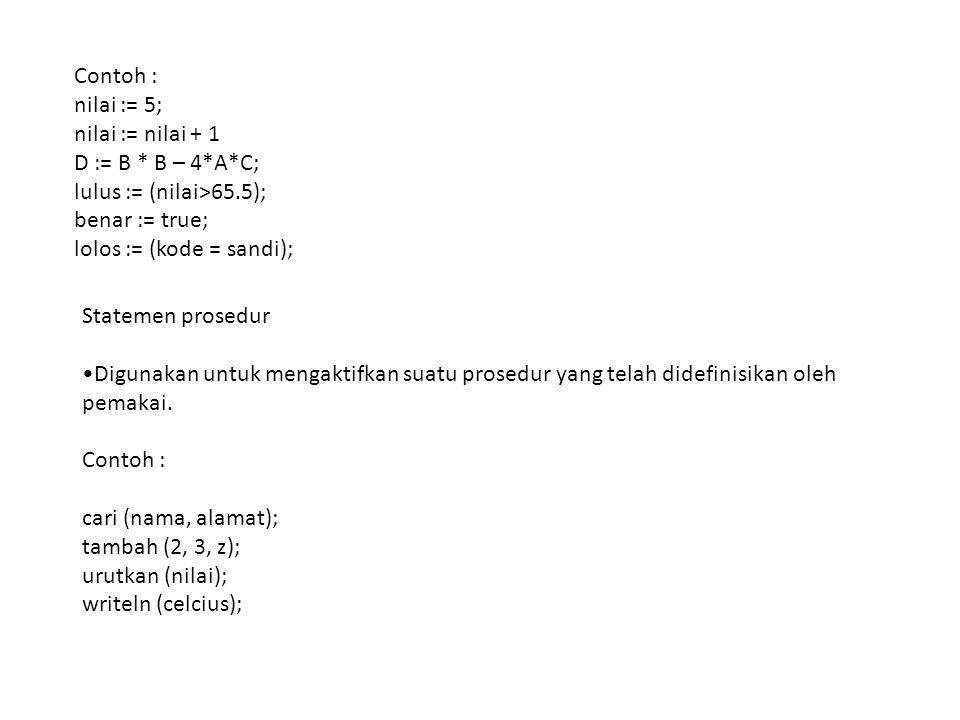 Contoh : nilai := 5; nilai := nilai + 1. D := B * B – 4*A*C; lulus := (nilai>65.5); benar := true;