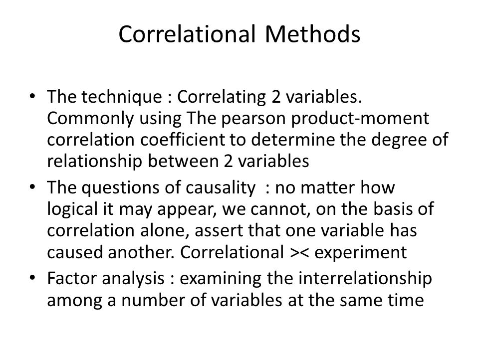 Correlational Methods