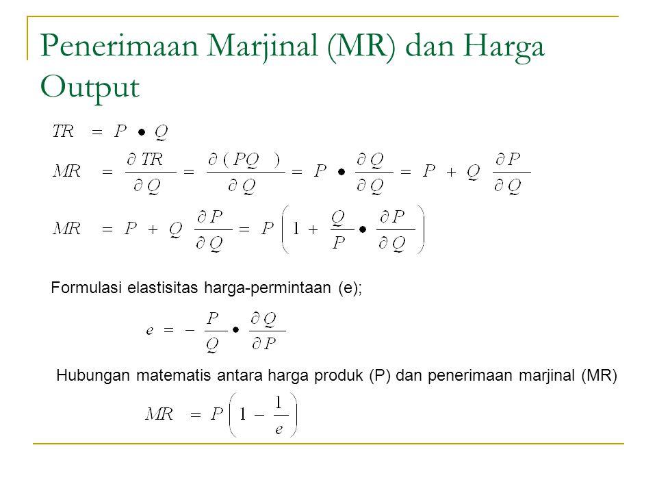 Penerimaan Marjinal (MR) dan Harga Output