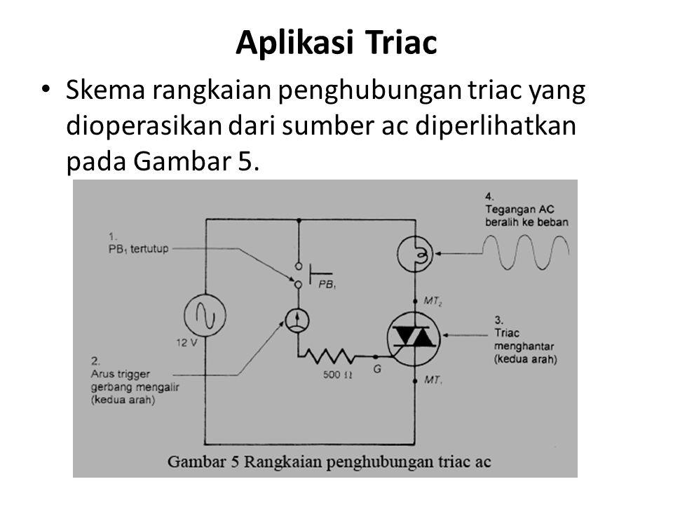 Aplikasi Triac Skema rangkaian penghubungan triac yang dioperasikan dari sumber ac diperlihatkan pada Gambar 5.