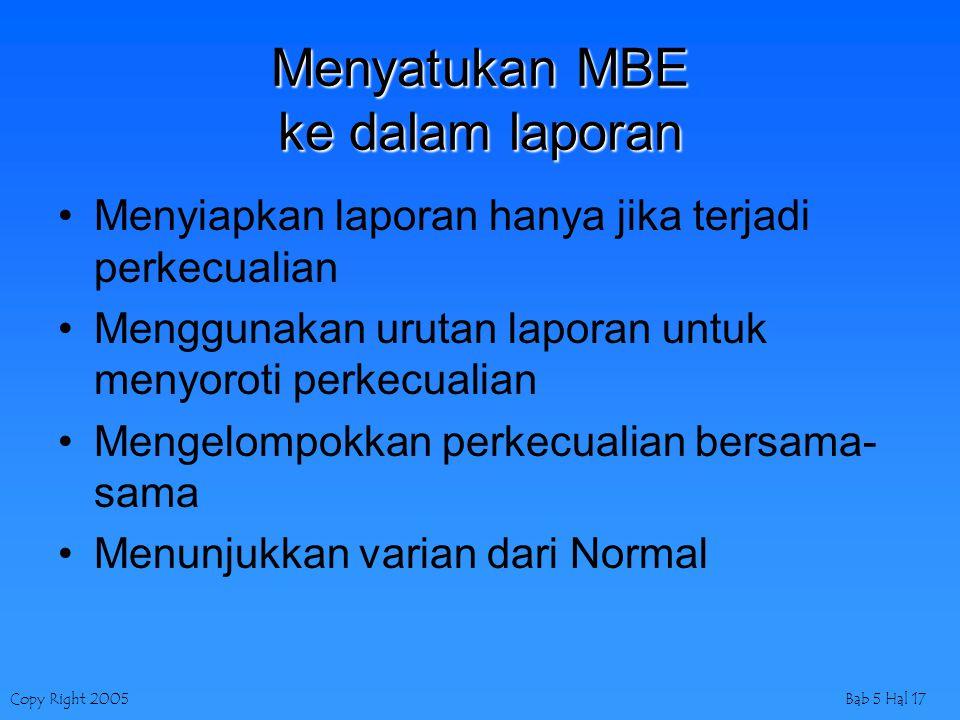Menyatukan MBE ke dalam laporan