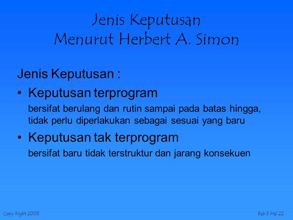 Jenis Keputusan Menurut Herbert A. Simon